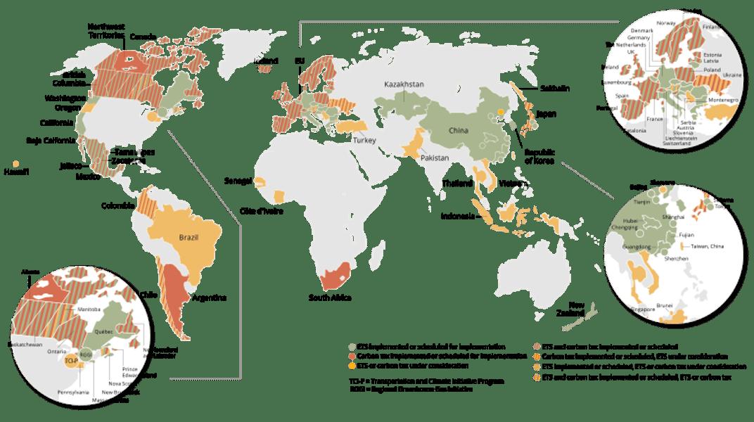世界碳定價實施與規畫狀況